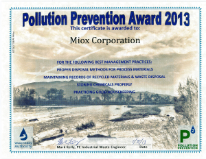 Pollution Prevention Award 2013