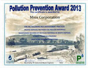 Pollution Prevention Award 2013